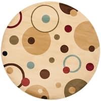 Safavieh Porcello Modern Cosmos Ivory/ Multi Rug - 5' x 5' round