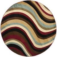 Safavieh Porcello Contemporary Waves Blue/ Multi Rug - 5' Round
