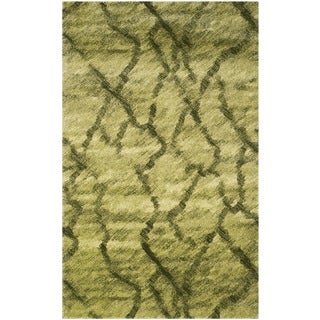 Safavieh Retro Modern Abstract Green/ Dark Green Distressed Rug (5' x 8')