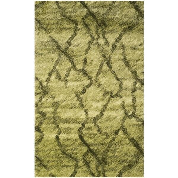 Safavieh Retro Modern Abstract Green/ Dark Green Distressed Rug - 8' x 10'