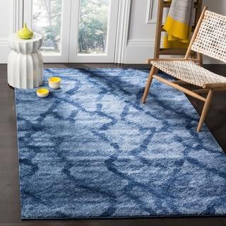 Safavieh Retro Modern Abstract Blue/ Dark Blue Distressed Rug (5' x 8')