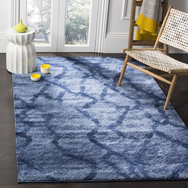 Safavieh Retro Modern Abstract Blue/ Dark Blue Distressed Rug - 8' x 10'