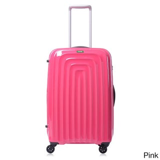 Lojel Wave Polycarbonate 26.5-inch Medium Upright Spinner Suitcase (Option: Pink)