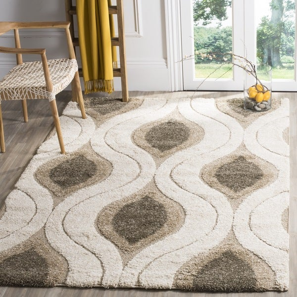 Safavieh Florida Shag Cream/ Smoke Geometric Ogee Rug (11' x 15')