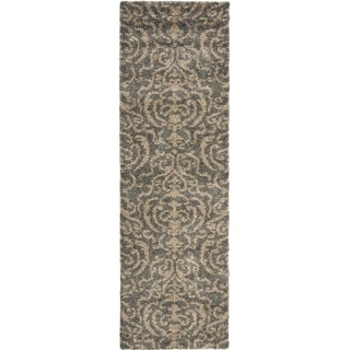 Safavieh Florida Shag Ornate Grey/ Beige Damask Runner (2'3 x 11')