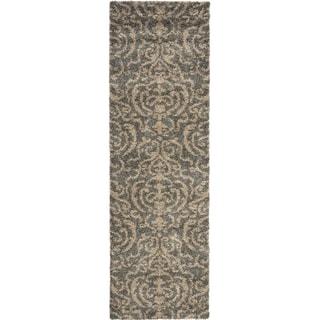 Safavieh Florida Shag Ornate Grey/ Beige Damask Runner (2'3 x 9')