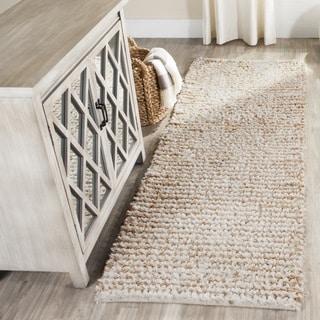 Safavieh Handmade Aspen Shag White/ Beige Wool Runner (2'3 x 4')