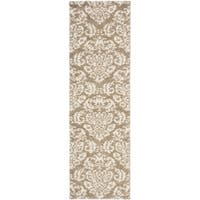 Safavieh Florida Shag Beige/ Cream Damask Runner (2'3 x 9')