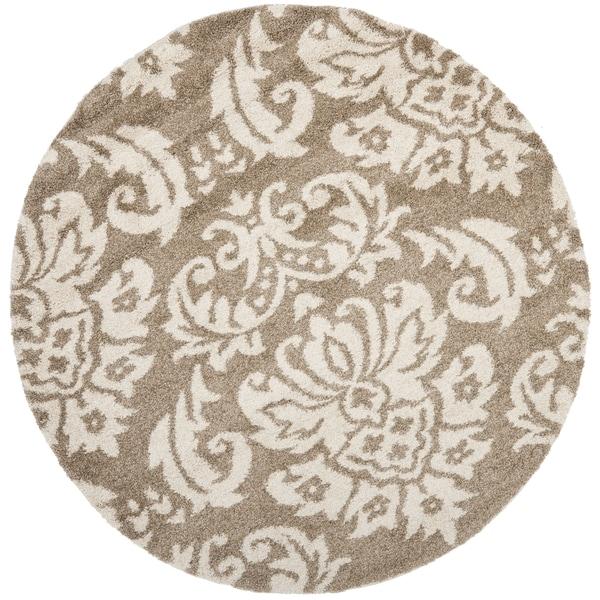 Safavieh Florida Shag Beige/ Cream Damask Round Rug (4' Round)