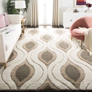 Safavieh Florida Shag Cream/ Smoke Geometric Ogee Rug (9'6 x 13')