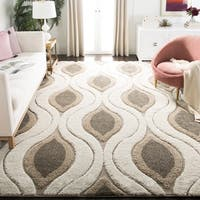 Safavieh Florida Shag Cream/ Smoke Geometric Ogee Rug (9'6 x 13') - 9'6 x 13'