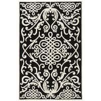 Safavieh Handmade Soho Black/ Ivory Wool Rug - 6' x 9'