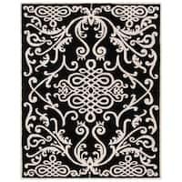 "Safavieh Handmade Soho Black/ Ivory Wool Rug - 7'6"" x 9'6"""