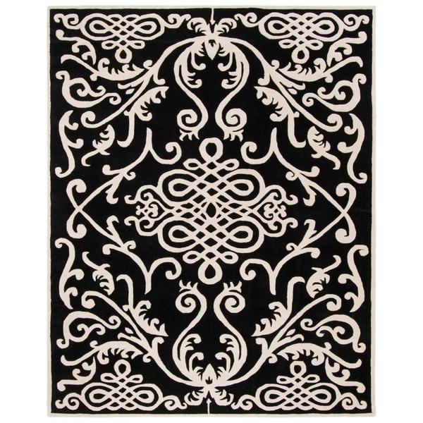 "Safavieh Handmade Soho Black/ Ivory Wool Rug - 7'-6"" x 9'-6"""