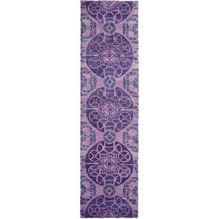 Safavieh Handmade Wyndham Purple Wool Rug (2'3 x 7')