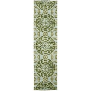 Safavieh Handmade Wyndham Turquoise Wool Rug (2'3 x 7')