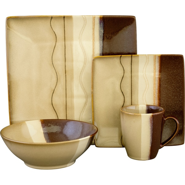 Exceptionnel Sango Zanzibar Brown 16 Piece Dinnerware Set