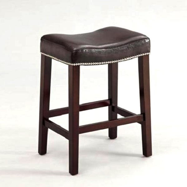 Nailhead Saddle Espresso Leather Counter Height Bar Stools