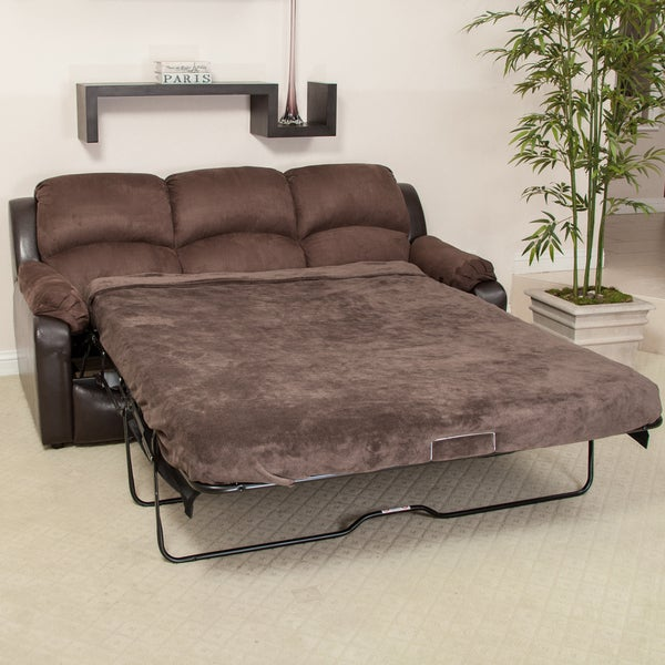 Graham Brown Leather Microfiber Sofa Bed by Christopher Knight Home