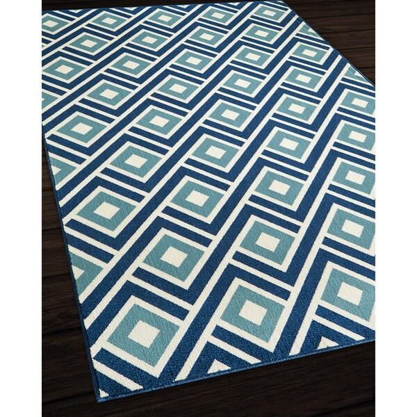 Indoor/ Outdoor Blue Blocks Rug (1'8 x 3'7)