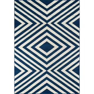 Indoor/ Outdoor Navy Zig-Zag Rug (2'3 x 4'6)