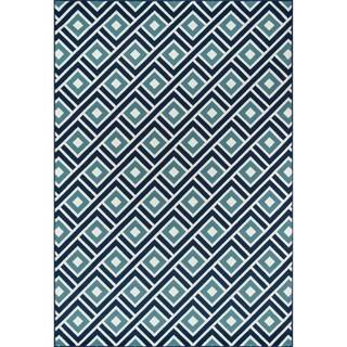 Indoor/ Outdoor Blue Blocks Rug (2'3 x 4'6)