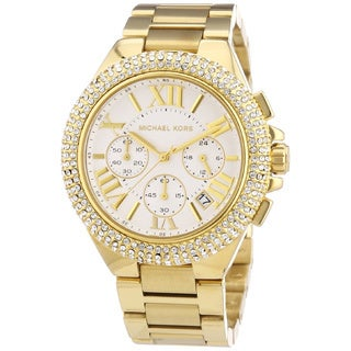 Michael Kors Women's MK5756 'Camille' Gold-Tone Chronograph Watch - WHITE/GOLD