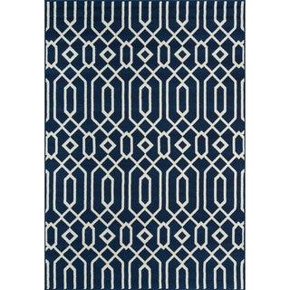 Indoor/ Outdoor Navy Links Rug (3'11 x 5'7)