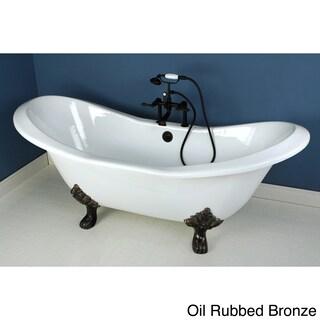 Double Slipper 72-inch Cast Iron Clawfoot Bathtub (Option: Oil Rubbed Bronze)