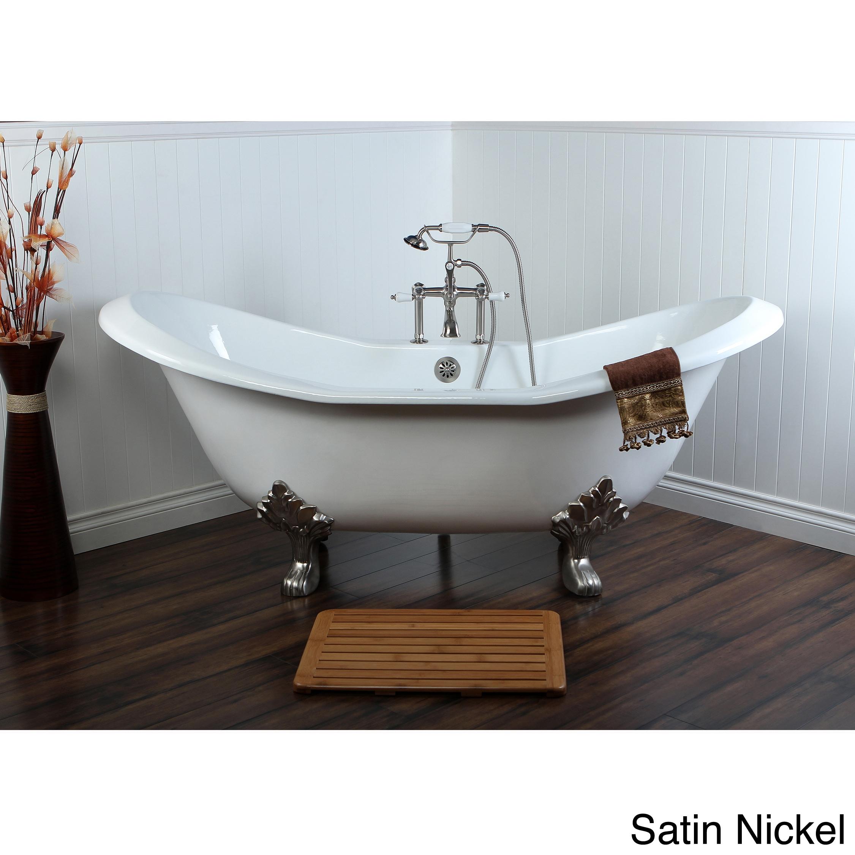 Double Slipper 72 Inch Cast Iron Clawfoot Bathtub