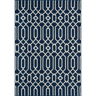 Indoor/ Outdoor Navy Links Rug (7'10 x 10'10)