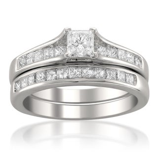 Montebello 14k White Gold 1 1/2ct TDW Princess-cut Diamond Bridal Ring Set (H-I, SI2)