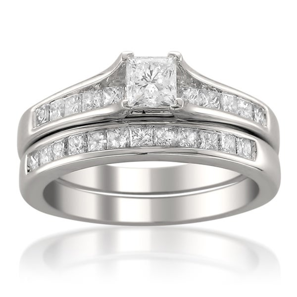 Montebello 14k White Gold 1 1/2ct TDW Princess-cut Diamond Bridal Ring Set
