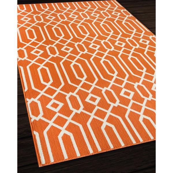 Indoor Outdoor Orange Links Rug 7 10 x 10 10 Free