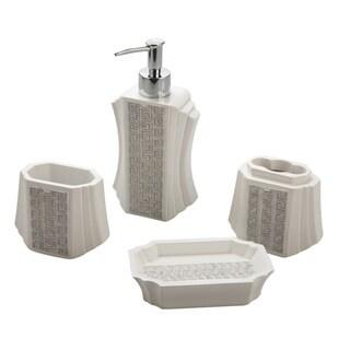Jovi Home Greek Key Bath Accessory 4-piece Set