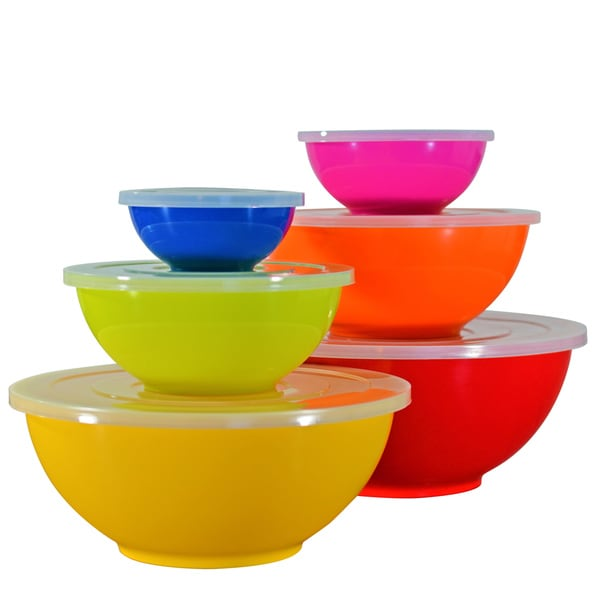 10 Strawberry Street Melamine Colored Mixing Bowls with Lids (Set of 6)