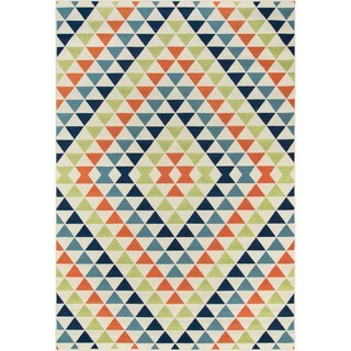 Indoor/ Outdoor Multi Kaleidoscope Rug (3'11 x 5'7)