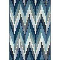 """Momeni Baja Ikat Blue Indoor/Outdoor Area Rug - 2'3"""" x 4'6"""""""
