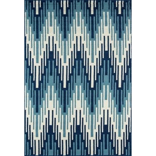 Indoor/Outdoor Blue Ikat Rug (7'10 x 10'10)