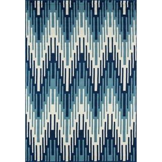 Indoor/Outdoor Blue Ikat Rug (7'10 x 10'10)