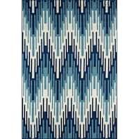 """Momeni Baja Ikat Blue Indoor/Outdoor Area Rug - 6'7"""" x 9'6"""""""