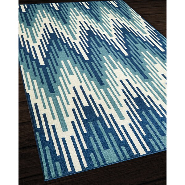 Indoor/Outdoor Blue Ikat Rug (5'3 x 7'6)