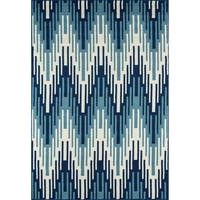 """Momeni Baja Ikat Blue Indoor/Outdoor Area Rug - 5'3"""" x 7'6"""""""
