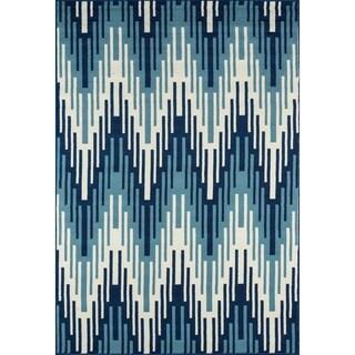 Indoor/Outdoor Blue Ikat Rug (8'6 x 13'0)