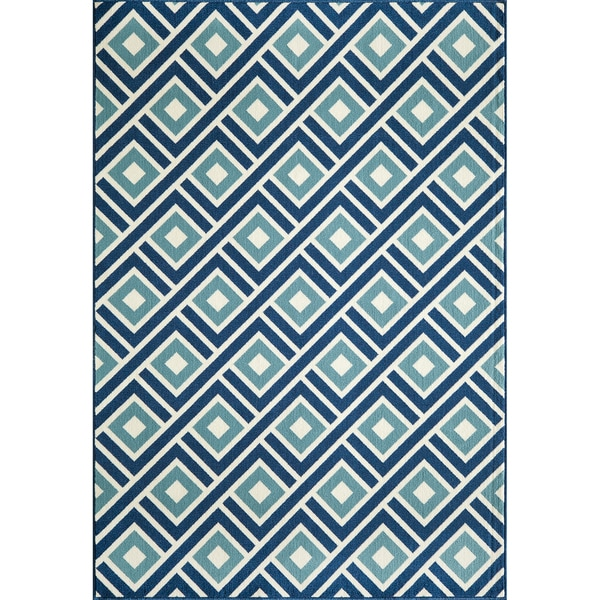 Indoor/ Outdoor Blocks Rug (7'10 x 10'10)