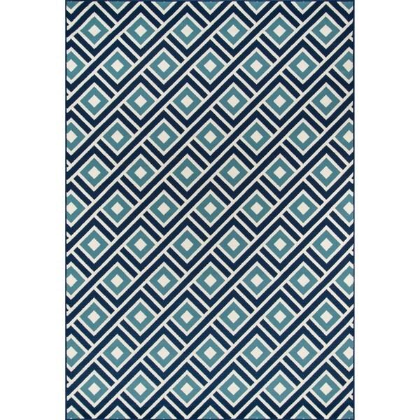 """Momeni Baja Blocks Blue Indoor/Outdoor Area Rug - 8'6"""" x 13'"""
