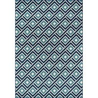 "Momeni Baja Blocks Blue Indoor/Outdoor Area Rug - 8'6"" x 13'"