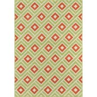 "Momeni Baja Blocks Green Indoor/Outdoor Area Rug - 1'8"" x 3'7"""