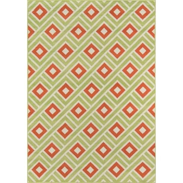 Momeni Baja Blocks Green Indoor/Outdoor Area Rug  (2'3 x 4'6)