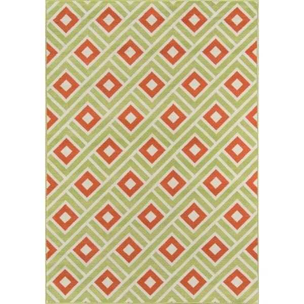 """Momeni Baja Blocks Green Indoor/Outdoor Area Rug - 8'6"""" x 13'"""